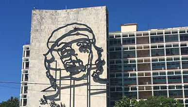 A building with Che Guevara's likeness on it