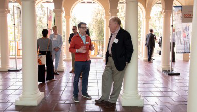 Occidental College Board Chair Stephen Rountree '71 (left) and VP for Institutional Advancement Charlie Cardillo.